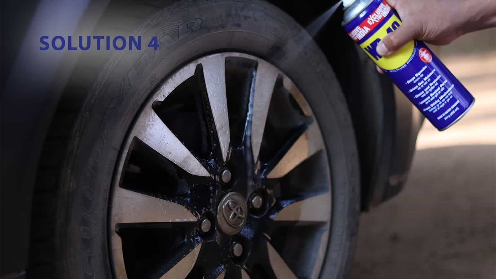 How to get caked grease off your tyres?